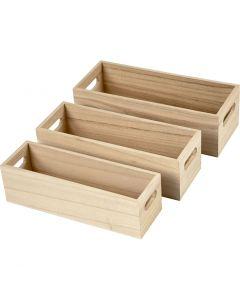 Depotkasse, H: 6,5-7,5 cm, L: 22+23,5+25 cm, B: 6,5+7,5+8,5 cm, 3 stk./ 1 sett