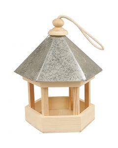 Fuglematehus med zinktak, str. 22x18x16,5 cm, 1 stk.