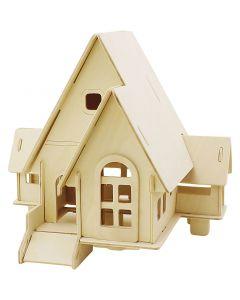 3D konstruksjonsfigur, Hus med kjørerampe, str. 22,5x17,5x20,5 , 1 stk.