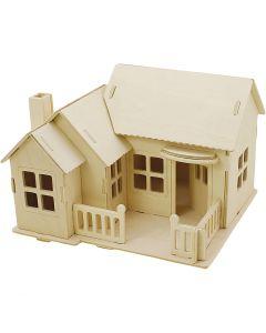 3D konstruksjonsfigur, Hus med terrasse, str. 19x17,5x15 , 1 stk.