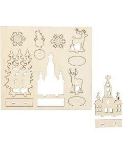 Sett-sammen selv trefigur, kirke, juletrær, krondyr, L: 15,5 cm, B: 17 cm, 1 pk.