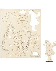 Sett-sammen selv trefigur, julenisse, juletrær, hjort, L: 20 cm, B: 17 cm, 1 pk.