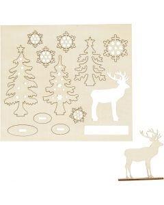 Sett-sammen selv trefigur, skog med rådyr, L: 15,5 cm, B: 17 cm, 1 pk.