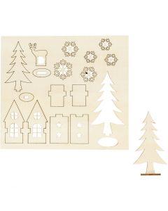 Sett-sammen selv trefigur, hus, tre, rådyr, L: 15,5 cm, B: 17 cm, 1 pk.