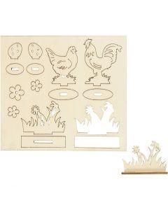 Sett-sammen selv trefigur, høner og blomster, L: 15,5 cm, B: 17 cm, 1 pk.