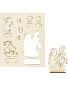 Sett-sammen selv trefigur, harer og blomster, L: 20 cm, B: 17 cm, 1 pk.