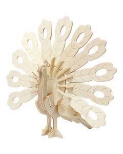 3D konstruksjonsfigur, påfugl, str. 10x20,5x17,5 cm, 1 stk.