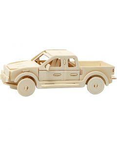 3D konstruksjonsfigur, pickup lastebil, str. 19,5x8x12 cm, 1 stk.