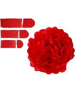 Papirpomponer, dia. 20+24+30 cm, 16 g, rød, 3 stk./ 1 pk.