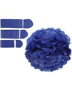 Papirpomponer, dia. 20+24+30 cm, 16 g, mørk blå, 3 stk./ 1 pk.