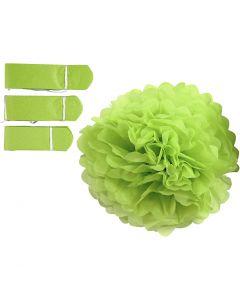 Papirpomponer, dia. 20+24+30 cm, 16 g, limegrønn, 3 stk./ 1 pk.