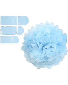 Papirpomponer, dia. 20+24+30 cm, 16 g, lys blå, 3 stk./ 1 pk.