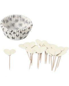Muffinsformer, H: 3 cm, dia. 5 cm, 40 g, råhvit, 24 sett/ 1 pk.