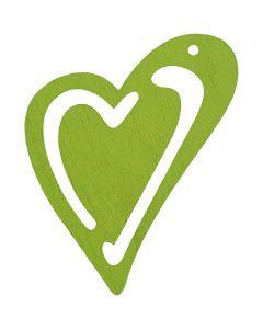 Skjevt hjerte, str. 55x45 mm, limegrønn, 10 stk./ 1 pk.
