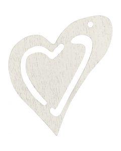 Skjevt hjerte, str. 25x22 mm, hvit, 20 stk./ 1 pk.