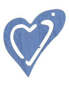 Skjevt hjerte, str. 25x22 mm, lys blå, 20 stk./ 1 pk.