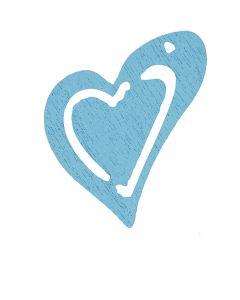 Skjevt hjerte, str. 25x22 mm, lys turkis, 20 stk./ 1 pk.