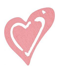 Skjevt hjerte, str. 25x22 mm, rosa, 20 stk./ 1 pk.