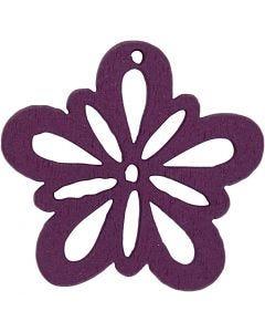 Blomst, dia. 27 mm, mørk lilla, 20 stk./ 1 pk.