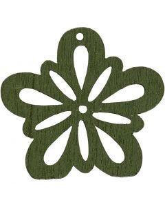 Blomst, dia. 27 mm, mørk grønn, 20 stk./ 1 pk.
