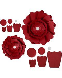 Papirblomster, dia. 15+25 cm, 230 g, rød, 2 stk./ 1 pk.