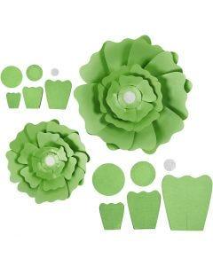 Papirblomster, dia. 15+25 cm, 230 g, grønn, 2 stk./ 1 pk.