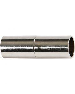 Magnetlås, L: 23 mm, hullstr. 6 mm, forsølvet, 2 stk./ 1 pk.