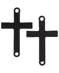 Kors , str. 20x30 mm, hullstr. 2 mm, svart, 4 stk./ 1 pk.
