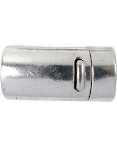 Magnetlås, dia. 26 mm, hullstr. 10 mm, antikk sølv, 1 stk.