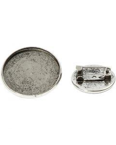 Brosjenål, dia. 18+25 mm, antikk sølv, 6 stk./ 1 pk.