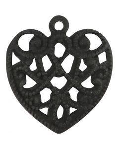 Hjerte, str. 13x14 mm, hullstr. 1 mm, svart, 4 stk./ 1 pk.
