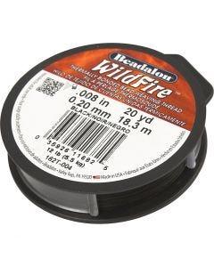Smykketråd, tykkelse 0,2 mm, svart, 18,3 m/ 1 rl.