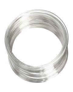 Memory wire, dia. 6 cm, tykkelse 0,8 mm, forsølvet, 1 stk.