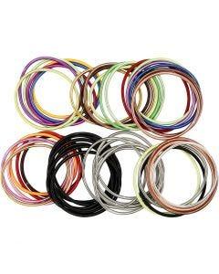 Spring-armbånd, L: 18 cm, tykkelse 3 mm, ass. farger, 84 stk./ 1 pk.