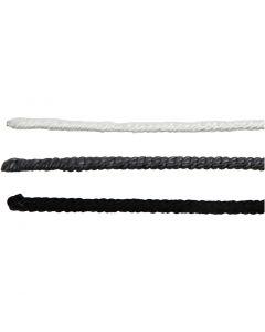 Wire med snøre, L: 40 cm, tykkelse 1,5 mm, svart, grå, hvit, 6 stk./ 1 pk.