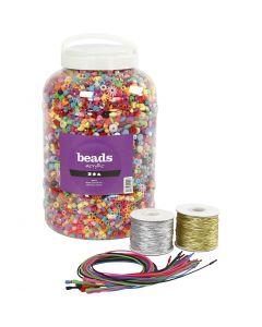 Perlespann, elastikk og halskjeder, str. 6-20 mm, hullstr. 1,5-6 mm, ass. farger, 1 sett