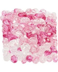 Harmoni facettperlemix, str. 4-12 mm, hullstr. 1-2,5 mm, pink (081), 250 g/ 1 pk.