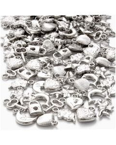 Sølvcharms, str. 15-20 mm, hullstr. 3 mm, 80 g/ 1 pk.