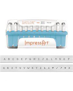 Pregestempler, str. 4 mm, Skrifttype: Sailor , 33 stk./ 1 sett