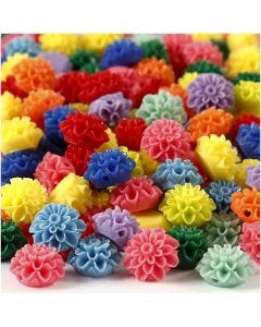 Blomsterperler, str. 15x8 mm, hullstr. 1,5 mm, ass. farger, 10x25 stk./ 1 pk.