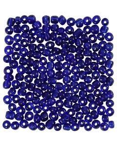 Rocaiperler, dia. 4 mm, str. 6/0 , hullstr. 0,9-1,2 mm, koboltblå, 25 g/ 1 pk.
