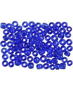 Rocaiperler, dia. 4 mm, str. 6/0 , hullstr. 0,9-1,2 mm, koboltblå, 500 g/ 1 pk.