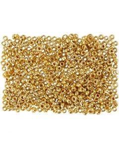 Rocaiperler, dia. 1,7 mm, str. 15/0 , hullstr. 0,5-0,8 mm, messing, 500 g/ 1 pose