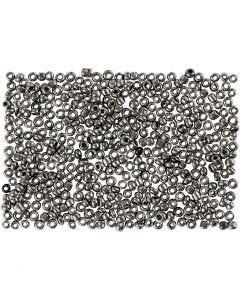 Rocaiperler, dia. 1,7 mm, str. 15/0 , hullstr. 0,5-0,8 mm, Grå metall, 500 g/ 1 pose