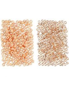Rocaiperler, dia. 1,7 mm, str. 15/0 , hullstr. 0,5-0,8 mm, Fersken, Lys fersken, 2x7 g/ 1 pk.