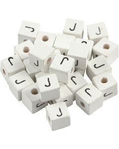 Bokstavperle, J, str. 8x8 mm, hullstr. 3 mm, hvit, 25 stk./ 1 pk.