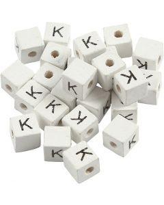 Bokstavperle, K, str. 8x8 mm, hullstr. 3 mm, hvit, 25 stk./ 1 pk.