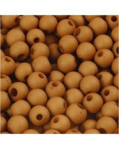 Plastperler, dia. 6 mm, hullstr. 2 mm, brun, 40 g/ 1 pk.