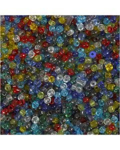 Rocaiperler, dia. 4 mm, str. 6/0 , hullstr. 0,9-1,2 mm, Blank transparent, 130 g/ 1 pk.