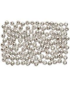 Voksperler, dia. 3 mm, hullstr. 0,7 mm, sølv, 150 stk./ 1 pk.